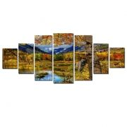 Canvas Wall Art Autumn landscape, Glowing in the dark, Set of 7, 100 x 240 cm (1 panel 40 x 100 cm, 2 panels 35 x 90 cm, 2 panels 30 x 60 cm, 2 panels 30 x 40 cm)