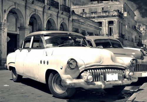 Mural Wall Art Cars in Cuba, Glowing in the dark, 3.66 x 2.56 m