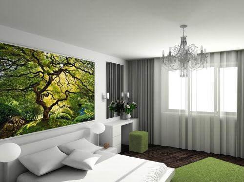 Mural Wall Art Green Maple, Glowing in the dark, 3.66 x 2.56 m