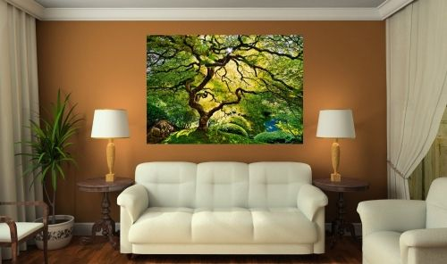 Mural Wall Art Green Maple, Glowing in the dark, 1.83 x 1.28 m