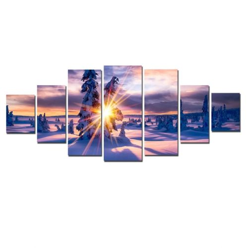Canvas Wall Art Rays among fir trees, Glowing in the dark, Set of 7, 100 x 240 cm (1 panel 40 x 100 cm, 2 panels 35 x 90 cm, 2 panels 30 x 60 cm, 2 panels 30 x 40 cm)