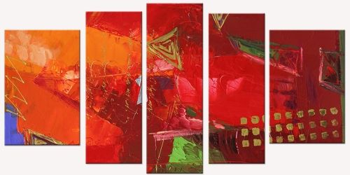 Canvas Wall Art Red Abstract, Glowing in the dark, Set of 5, 90 x 180 cm (1 panel 30 x 90 cm, 2 panels 30 x 80 cm, 2 panels 40 x 60 cm)