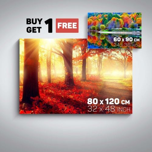 Canvas Wall Art Nature Landscape Red Forest and Autumn Forest Buy one Get Two Bundle Offer