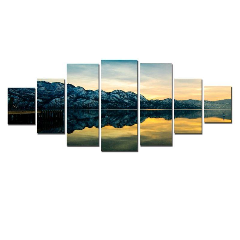 mirror 40 x 60. canvas wall art the mirror of lake, glowing in dark, set 40 x 60 m