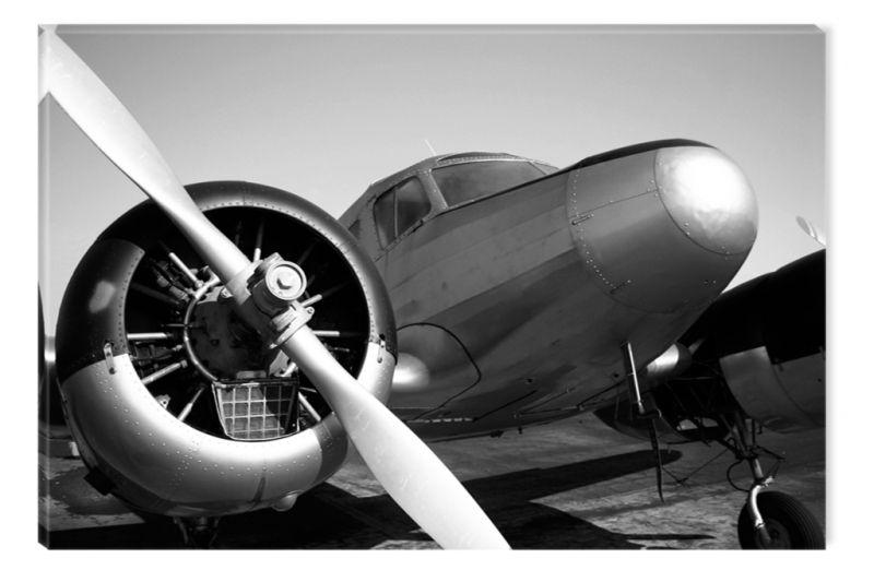 Black White Painting Retro Plane Of War