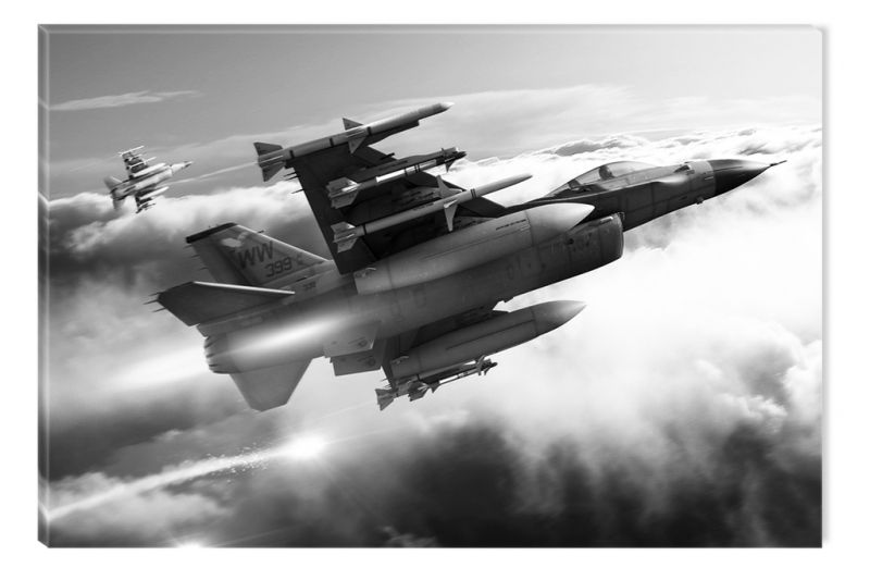 Black And White Painting Fighter Aircraft