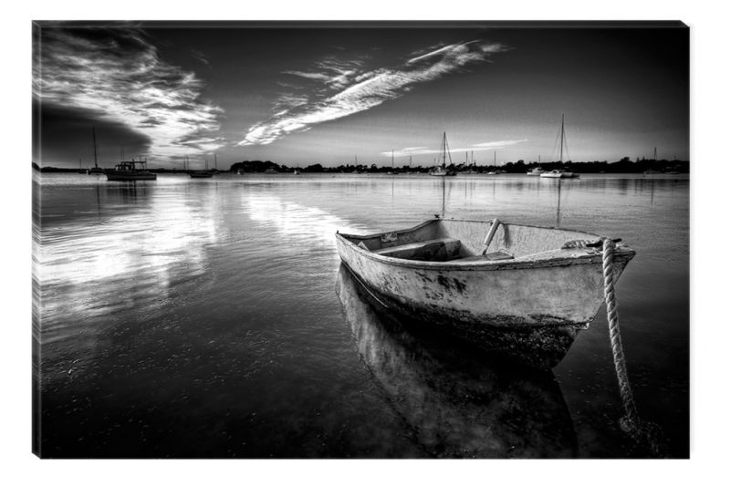 Black And White Abstract Canvas Wall Art Grunge Boat Glowing In The Dark  Cm