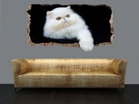 3D Mural Wall Art White cat, Glowing in the dark, 1.50 x 0.82 m