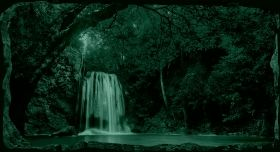3D Mural Wall Art Waterfall in the forest, Glowing in the dark, 1.50 x 0.82 m