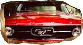 3D Mural Wall Art Mustang red, Glowing in the dark, 1.50 x 0.82 m