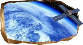 3D Mural Wall Art Satellite, Glowing in the dark, 1.50 x 0.82 m