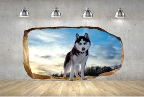 3D Mural Wall Art Husky, Glowing in the dark, 1.50 x 0.82 m