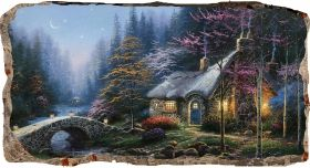 3D Mural Wall Art Fairytale landscape, Glowing in the dark, 1.50 x 0.82 m