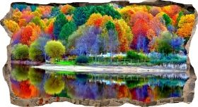 3D Mural Wall Art Colorful trees, Glowing in the dark, 1.50 x 0.82 m