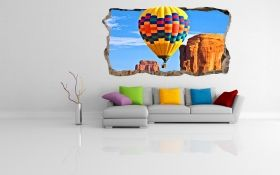 3D Mural Wall Art Air baloon, Glowing in the dark, 1.50 x 0.82 m