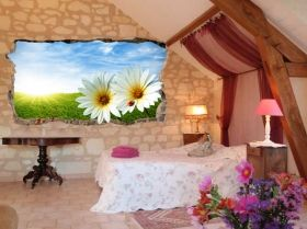 3D Mural Wall Art Daisies, Glowing in the dark, 1.50 x 0.82 m