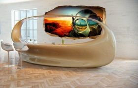 3D Mural Wall Art The world of the future, Glowing in the dark, 1.50 x 0.82 m