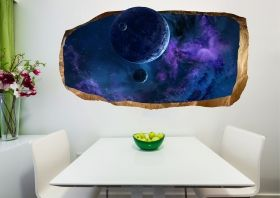 3D Mural Wall Art The blue universe, Glowing in the dark, 1.50 x 0.82 m