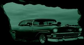 3D Mural Wall Art American car, Glowing in the dark, 1.50 x 0.82 m
