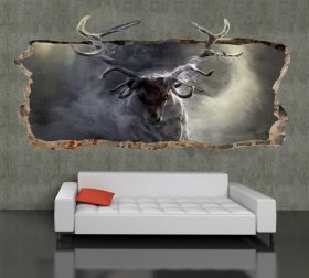 3D Mural Wall Art Deer, Glowing in the dark, 1.50 x 0.82 m