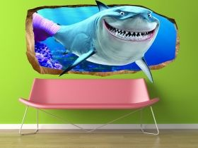 3D Mural Wall Art Pink shark, Glowing in the dark, 1.50 x 0.82 m