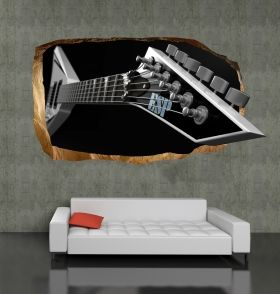 3D Mural Wall Art Electric guitar, Glowing in the dark, 1.50 x 0.82 m