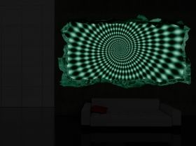 3D Mural Wall Art Hypnotic Black & White, Glowing in the dark, 1.50 x 0.82 m