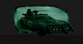 3D Mural Wall Art The car in the movie, Glowing in the dark, 1.50 x 0.82 m