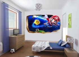 3D Mural Wall Art Super Mario, Glowing in the dark, 1.50 x 0.82 m
