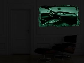 3D Mural Wall Art Bugatti, Glowing in the dark, 1.50 x 0.82 m