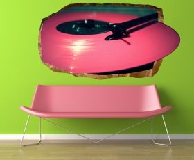 3D Mural Wall Art Pink vinyl, Glowing in the dark, 1.50 x 0.82 m