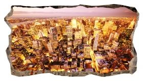 3D Mural Wall Art The golden city, Glowing in the dark, 1.50 x 0.82 m
