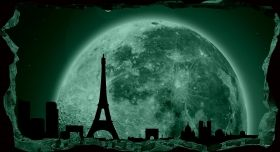 3D Mural Wall Art The window to Paris under the moonlight, Glowing in the dark, 2.20 x 1.20 m
