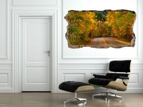 3D Mural Wall Art Road across the woods, Glowing in the dark, 2.20 x 1.20 m