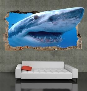 3D Mural Wall Art The shark in my room, Glowing in the dark, 2.20 x 1.20 m