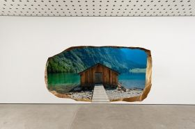 3D Mural Wall Art Chalet on the lake, Glowing in the dark, 2.20 x 1.20 m