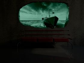 3D Mural Wall Art Boat, Glowing in the dark, 2.20 x 1.20 m