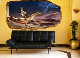 3D Mural Wall Art Make a wish, Glowing in the dark, 2.20 x 1.20 m
