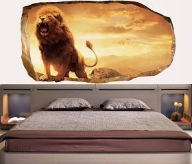 3D Mural Wall Art Lion, Glowing in the dark, 2.20 x 1.20 m