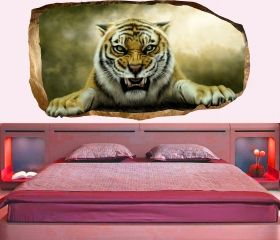 3D Mural Wall Art Tiger, Glowing in the dark, 2.20 x 1.20 m