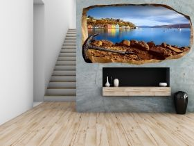 3D Mural Wall Art Anchor on the beach, Glowing in the dark, 2.20 x 1.20 m