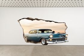 3D Mural Wall Art American car, Glowing in the dark, 2.20 x 1.20 m
