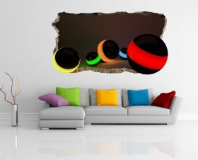 3D Mural Wall Art Colorful balls, Glowing in the dark, 2.20 x 1.20 m
