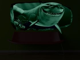 3D Mural Wall Art Pink shark, Glowing in the dark, 2.20 x 1.20 m