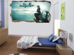 3D Mural Wall Art A woman's dream, Glowing in the dark, 2.20 x 1.20 m