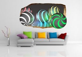 3D Mural Wall Art Many Colours, Glowing in the dark, 2.20 x 1.20 m