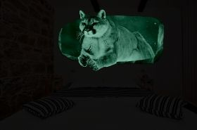 3D Mural Wall Art Mountain lion, Glowing in the dark, 2.20 x 1.20 m