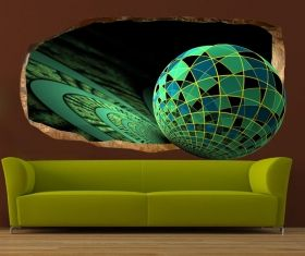 3D Mural Wall Art Green mosaic, Glowing in the dark, 2.20 x 1.20 m