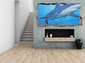3D Mural Wall Art A friendly shark, Glowing in the dark, 2.20 x 1.20 m