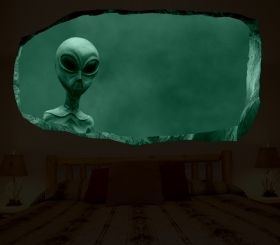 3D Mural Wall Art Extra-terrestrial, Glowing in the dark, 2.20 x 1.20 m